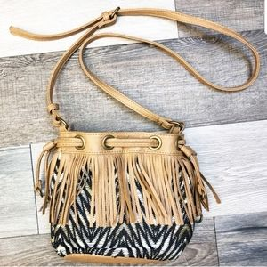 Carlos Santana Boho Fringe Crossbody Leather Bag